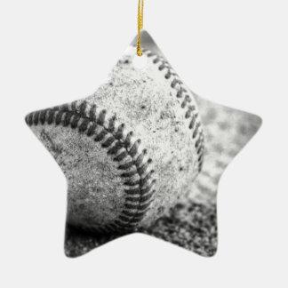 Baseball in Black and White Ceramic Star Decoration