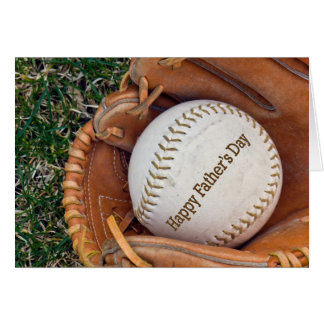 Baseball in glove for Father's Day Greeting Card