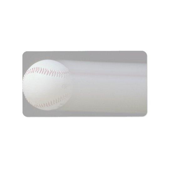 Baseball in motion address label