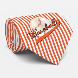 Baseball in Orange and White Stripes Tie