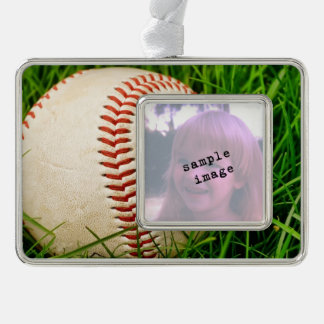 Baseball in the Tall Summer Grass Silver Plated Framed Ornament