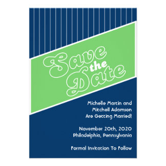Baseball Inspired Save The Date Green Navy Blue Announcements