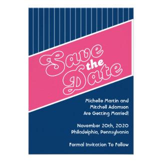 Baseball Inspired Save The Date Pink Navy Blue Custom Invite