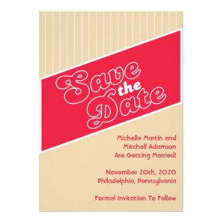 Baseball Inspired Save The Date Red Beige Custom Invite