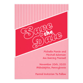 Baseball Inspired Save The Date Red Light Red Personalized Invite
