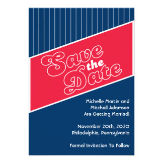 Baseball Inspired Save The Date Red Navy Blue Custom Announcement