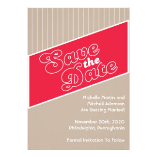 Baseball Inspired Save The Date Red Taupe Personalized Invitation