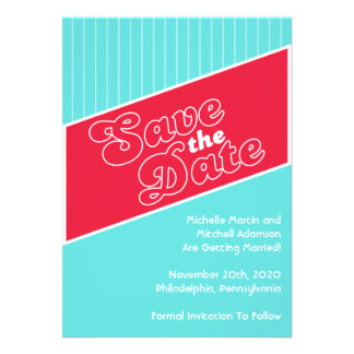 Baseball Inspired Save The Date Red Teal Invite