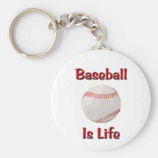 Baseball Is Life Basic Round Button Key Ring