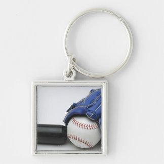 Baseball items Silver-Colored square key ring
