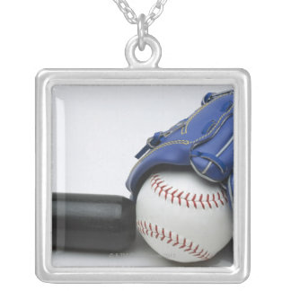 Baseball items silver plated necklace