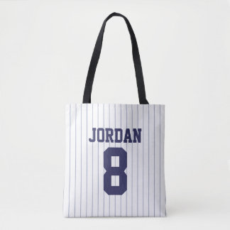 Baseball Jersey with Custom Name and Number Tote Bag