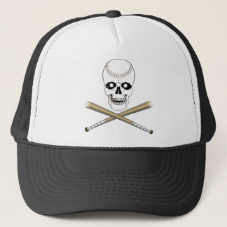 BASEBALL JOLLY ROGER SKULL & CROSS BATS TRUCKER HAT