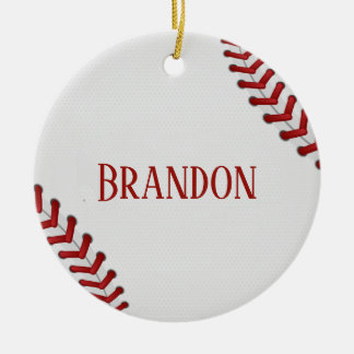 Baseball Laces Bases Ball Red White Game Name Christmas Ornament