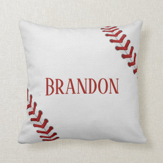 Baseball Laces Bases Ball Red White Game Name Cushion