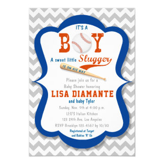 Baseball Little Slugger Boy Baby Shower Invitation