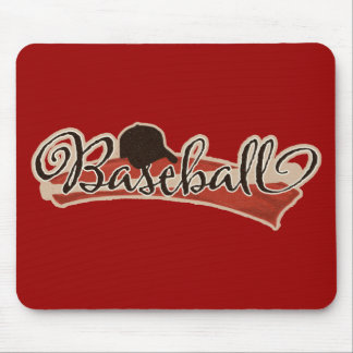 BASEBALL LOGO GRAPHICS RED BLACK NEUTRAL COLORS TE MOUSE PAD