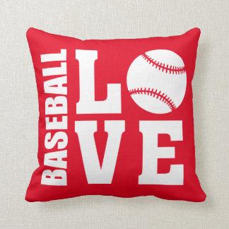 Baseball Love Red Cushion