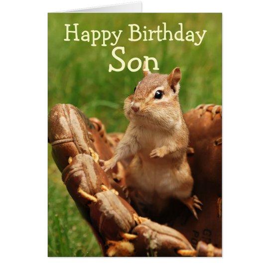 Baseball Loving Chipmunk Birthday Card