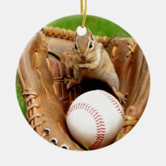 Baseball Loving Chipmunk Round Ceramic Decoration