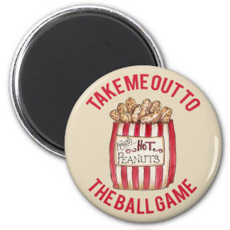 Baseball Magnet with bag of peanuts