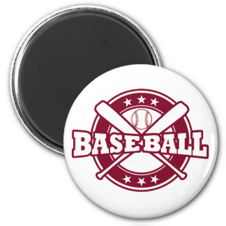 Baseball Magnet with crossed bats and ball