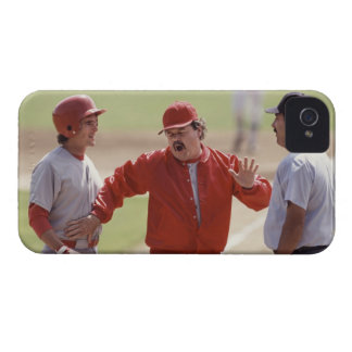 Baseball manager arguing with umpire and holding iPhone 4 Case-Mate case
