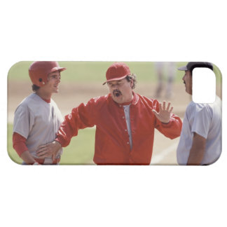 Baseball manager arguing with umpire and holding iPhone 5 cover