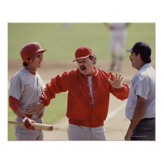Baseball manager arguing with umpire and holding poster