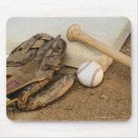 Baseball, Mitt, and Bat on Base Mouse Mat