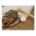 Baseball, Mitt, and Bat on Base Postcard