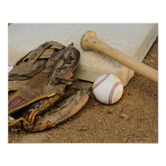Baseball, Mitt, and Bat on Base Poster