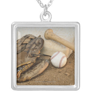 Baseball, Mitt, and Bat on Base Silver Plated Necklace