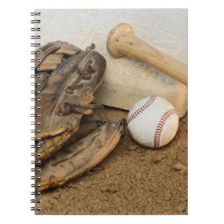 Baseball, Mitt, and Bat on Base Spiral Notebooks