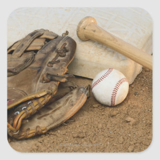 Baseball, Mitt, and Bat on Base Square Sticker