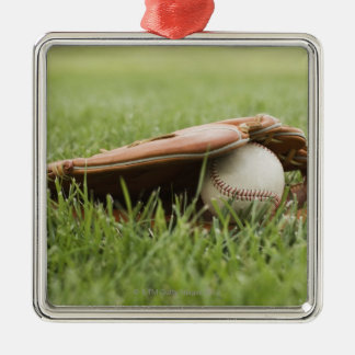 Baseball mitt with ball in grass Silver-Colored square decoration