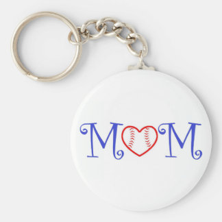 Baseball Mom Keychain, Blue Basic Round Button Key Ring