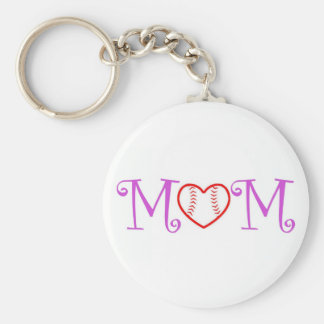 Baseball Mom Keychain, Pink Basic Round Button Key Ring
