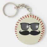 Baseball Moustache Keychain