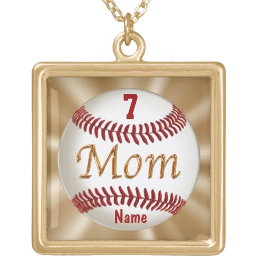 Baseball Mum Jewellery with Child's NUMBER and Gold Plated Necklace