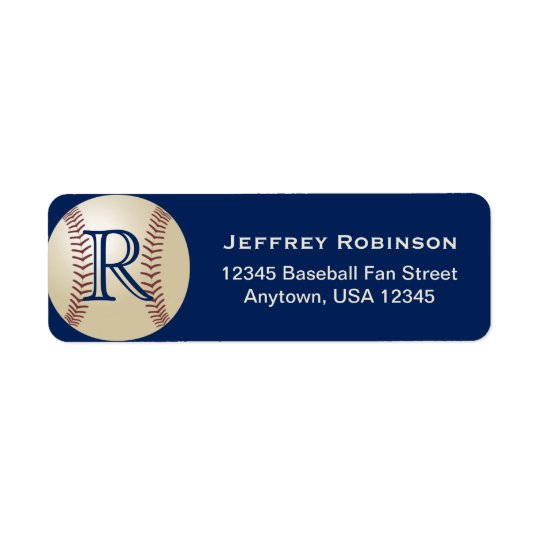 Baseball Name and Address Label with Monogram Blue