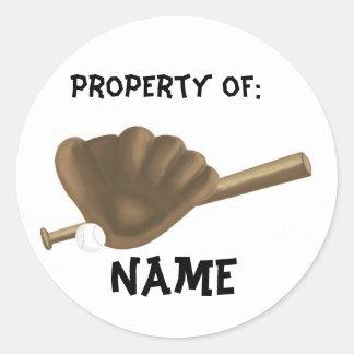 Baseball Name Round Sticker