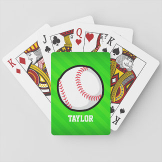 Baseball; Neon Green Stripes Playing Cards