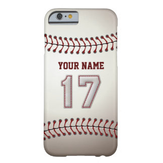 Baseball Number 17 with Your Name - Modern Sporty Barely There iPhone 6 Case