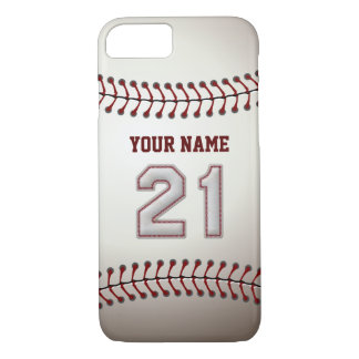 Baseball Number 21 with Your Name - Modern Sporty iPhone 8/7 Case