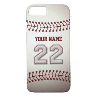 Baseball Number 22 with Your Name - Modern Sporty iPhone 8/7 Case