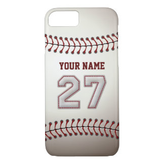 Baseball Number 27 with Your Name - Modern Sporty iPhone 7 Case