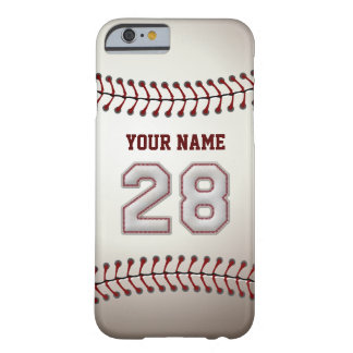 Baseball Number 28 with Your Name - Modern Sporty Barely There iPhone 6 Case