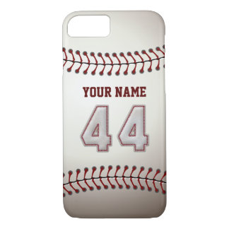 Baseball Number 44 with Your Name - Modern Sporty iPhone 8/7 Case