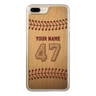 Baseball Number 47 with Your Name - Wooden Sporty Carved iPhone 7 Plus Case